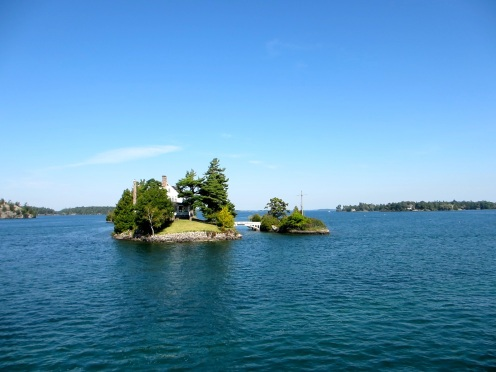 One island in Canada, one in the US.